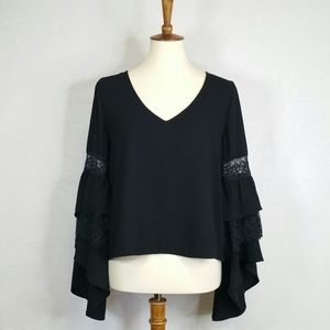 Leith Tiered Angel Sleeve Blouse Black XS